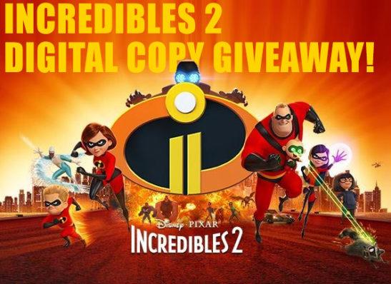 Disney Pixar's Incredibles 2 Digital Giveaway
