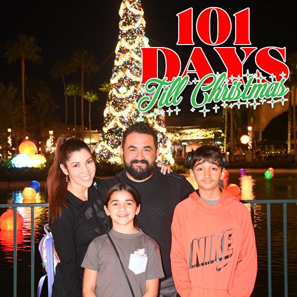 Family Christmas photo at Disney's Hollywood Studios Jingle Bell Jingle Bam